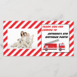 """Fire Truck Birthday Party Thank You<br><div class=""""desc"""">Ladder fire truck decorates this firefighter birthday party thank you photo card.</div>"""