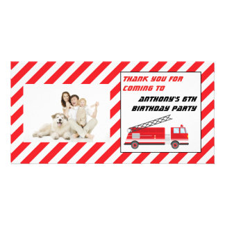 Fire Truck Birthday Party Thank You Card
