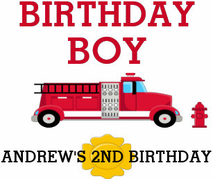 Fire Truck Birthday T Shirt Toddler Kid