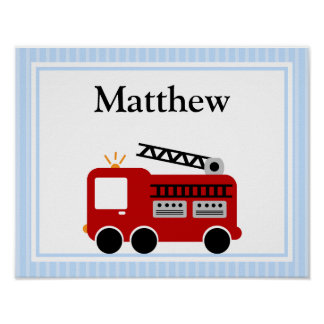 Fire Truck Blue Stripes Personalized Name Wall Art Posters