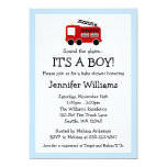 "Fire Truck Boy Baby Shower Invitations 5"" X 7"" Invitation Card"