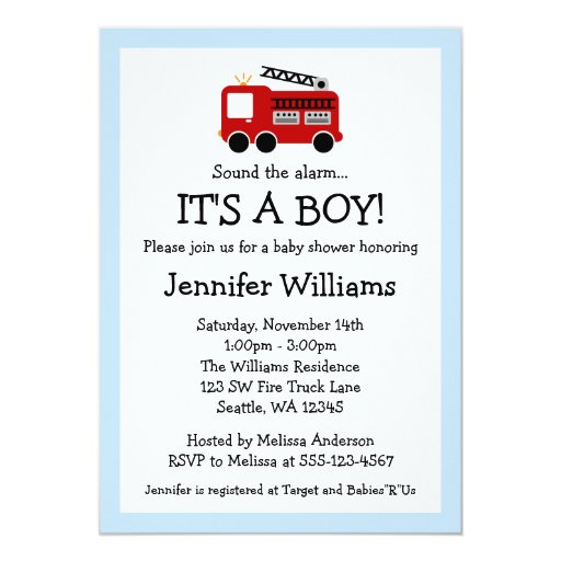 "Fire Truck Boy Baby Shower Invitations 5"" X 7"" Invitation Card"