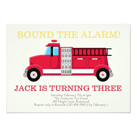 fire truck boys birthday invitation zazzle com