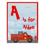 Fire Truck Boys Room Name Art Wall Poster