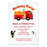 Fire Truck Children's Birthday Invitation