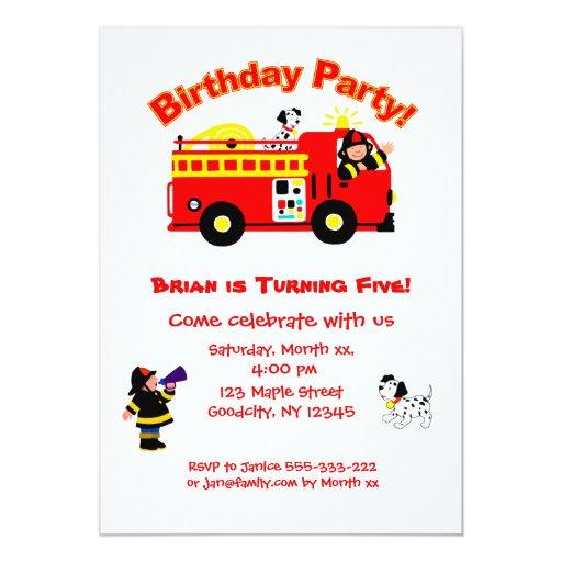 Fire Truck Children's Birthday 5x7 Paper Invitation Card