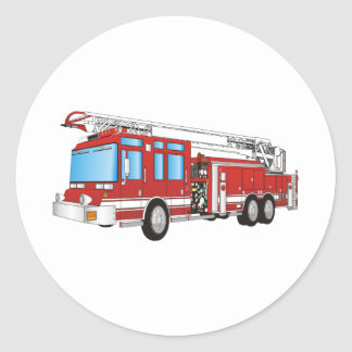 Fire Truck Classic Round Sticker
