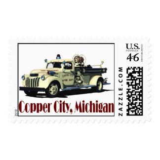 Fire Truck - Copper City Michigan Stamp