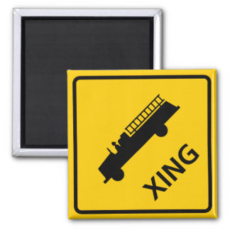 Fire Truck Crossing Highway Sign 2 Inch Square Magnet