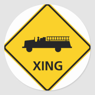 Fire Truck Crossing Highway Sign Classic Round Sticker