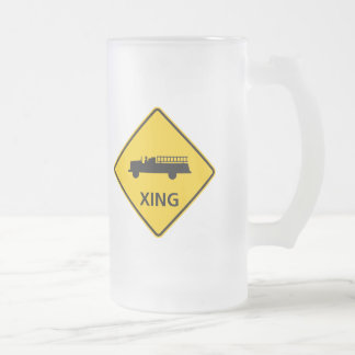 Fire Truck Crossing Highway Sign Frosted Glass Beer Mug