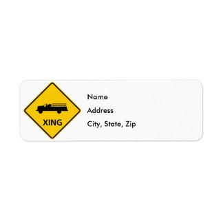 Fire Truck Crossing Highway Sign Return Address Label