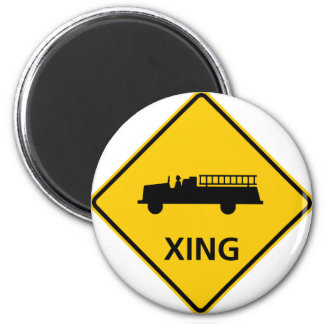 Fire Truck Crossing Highway Sign Magnets