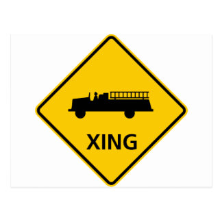 Fire Truck Crossing Highway Sign Postcard