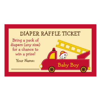 Fire Truck Diaper Raffle Tickets Double-Sided Standard Business Cards (Pack Of 100)