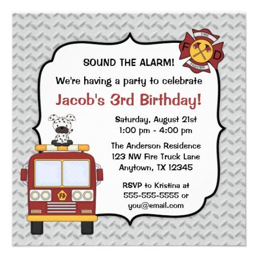 fire truck dog birthday party invitations - Dog Birthday Party Invitations