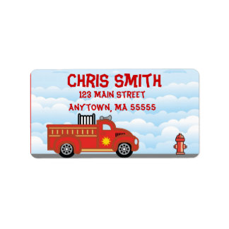 Fire Truck Engine Address Labels