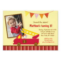 Fire Truck Engine Birthday Invitations