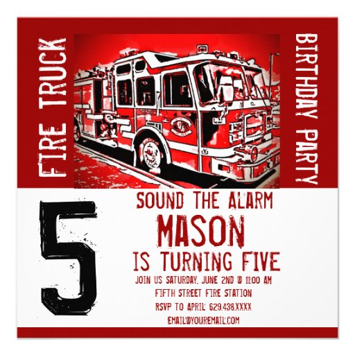 Personalized Firefighter Invitations – Firefighter Birthday Invitations