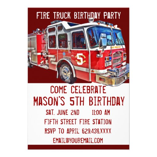 Personalized Firefighter Invitations CustomInvitations4Ucom