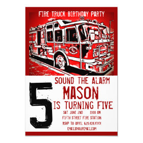 Fire Truck Engine Firefighter Birthday Invitations 5
