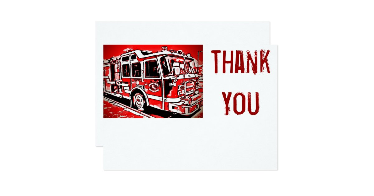 Fire Truck Engine Firefighter Flat Thank You Cards Zazzle