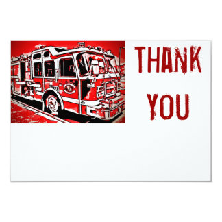 Fire Truck Engine Firefighter Flat Thank You Cards Personalized Invitations