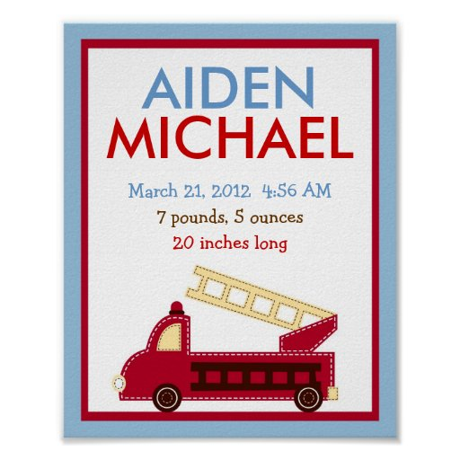 Fire Truck Engine Nursery Wall Art Birth Print