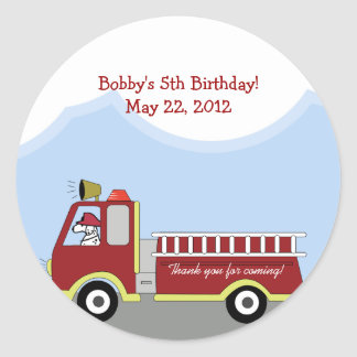 Fire Truck Fire Engine Round Custom Favor Sticker
