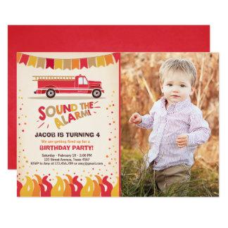 Fire Truck Firefighter Birthday Invitation Boy