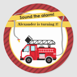 Fire Truck Firefighter Birthday Party Sticker