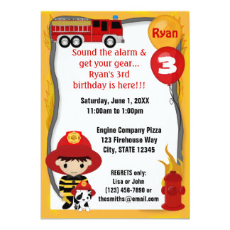 Fire Truck Firefighter Dalmatian Birthday FF01B Invites