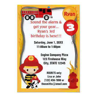 Fire Truck Firefighter Dalmatian Birthday FF01C Personalized Invitations
