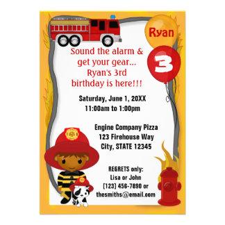 Fire Truck Firefighter Dalmatian Birthday FF03A Announcement
