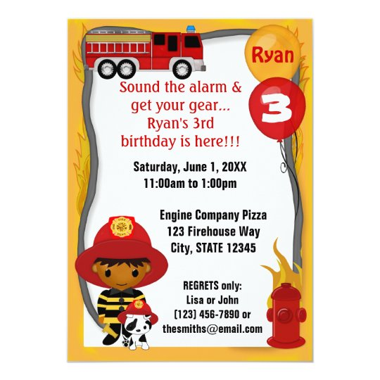 Fire Truck Firefighter Dalmatian Birthday FF03B Card