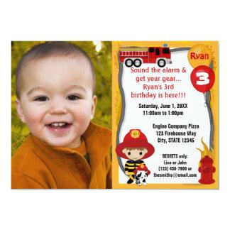 Fire Truck Firefighter Dalmatian Birthday FFP01A 5x7 Paper Invitation Card