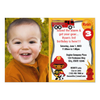 Fire Truck Firefighter Dalmatian Birthday FFP03B Personalized Invitations