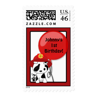 Fire Truck Firefighter Dalmatian Birthday stamp