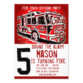 Fire Truck Firefighter Kids Birthday Invitations 4.5