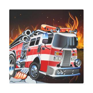 Fire Truck Firefighter Metal Wall Art