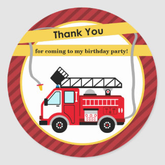 Fire Truck Firefighter Thank You Sticker