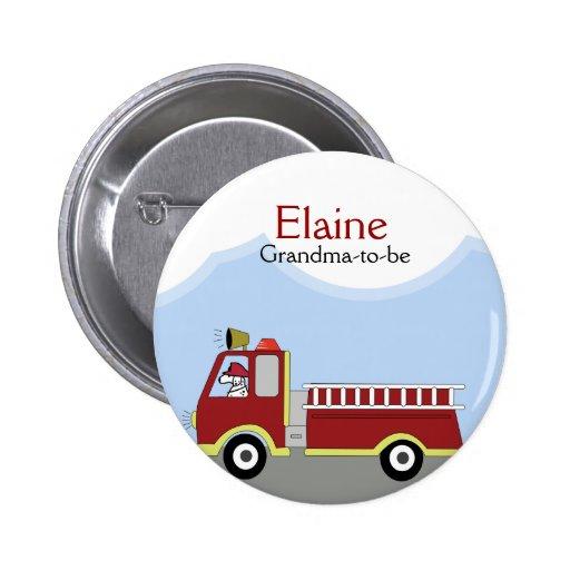 Fire Truck Firemen NAME TAG Custom Button