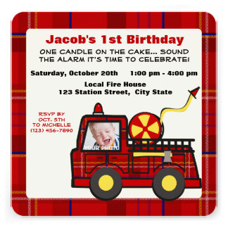Fire Truck First Birthday Plaid Personalized Invitations