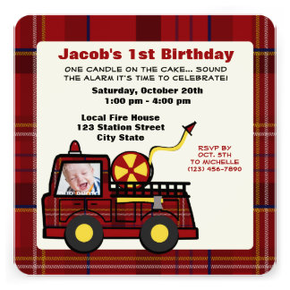 Fire Truck First Birthday Plaid Personalized Invite