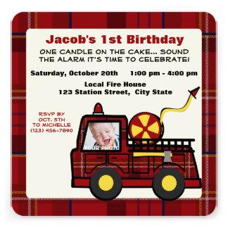 Fire Truck First Birthday Plaid Custom Invites