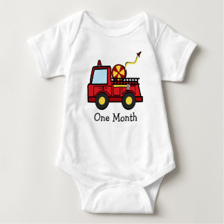 Fire Truck First Month Baby Bodysuit