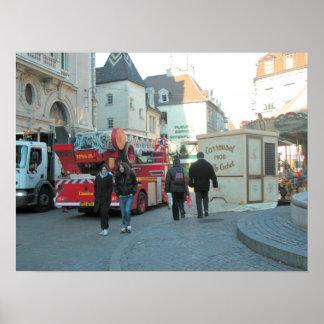 Fire truck in Dijon, Burgundy, France 6 Poster