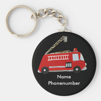 Fire truck in red vintage style for children keychain