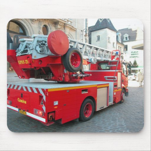 Fire truck in the marketplace 5 mouse pad