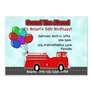 """Fire Truck Invitation 5"""" X 7"""" Invitation Card"""